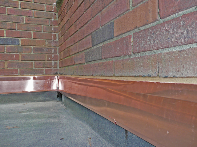 New Copper Counter Flashing On Flat Roof